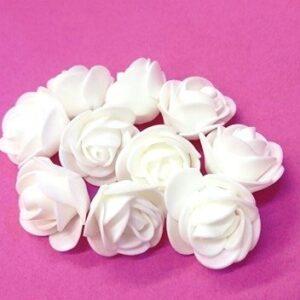 Polifoam rózsa fehér apró 30 mm 10 db