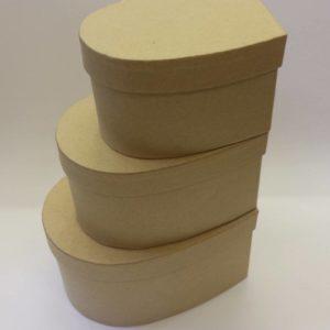 Papírdoboz szett szív alakú 3 db
