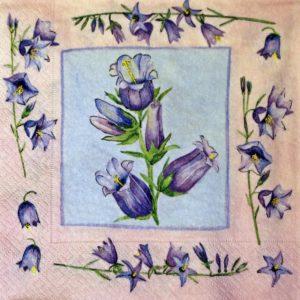 dekorszalvéta-lila virágok-4db
