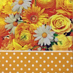 dekorszalvéta-narancs virágok-4db