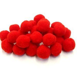Pompom 2 cm piros 20 db