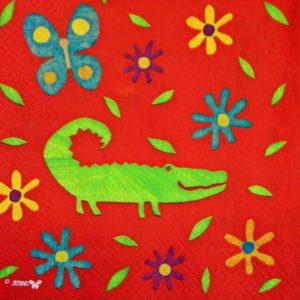 dekorszalvéta-rajzolt krokodil-4db