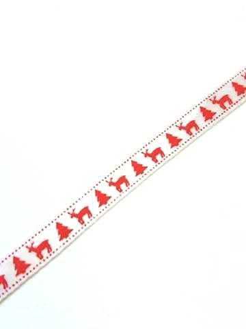 Karácsonyi szatén szalag fehér és piros fenyő szarvassal 6 mm x 20 ... 89f51f39cc
