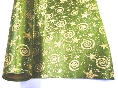 af4863b958 Karácsonyi dekor anyag textil zöld, arany mintával 50 cm x 1 m ...