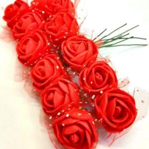 Polifoam rózsa piros drótszáron 20 mm 12 db