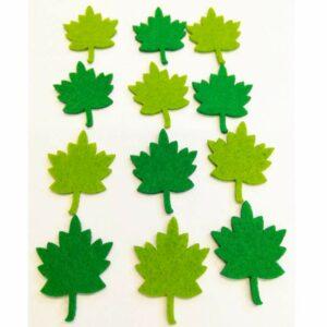Falevél zöld filc figurák 12 db