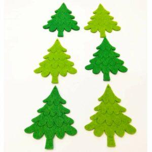 Fenyőfa rajzolt ágas filc figurák 6 db