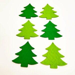 Fenyőfa csúcsos ágú filc figurák 6 db