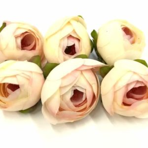 Selyemrózsa boglárka fej krém-rózsaszín közepes 6 db