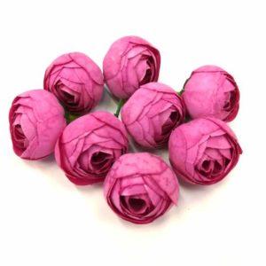Selyemrózsa boglárka fej pink kicsi 8 db