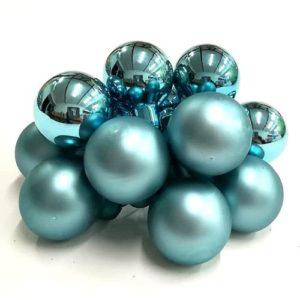 Gömbdísz türkizkék színben 2,5 cm 12 db