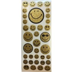 matrica-arany-csillamos-smiley-500x500-hobbykreativ