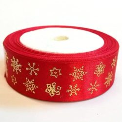 Karácsonyi szatén szalag piros-arany hópelyhes 25 mm 9fcc360e47