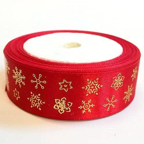 Karácsonyi szatén szalag piros-arany hópelyhes 25 mm - Create hobby ... af87818add