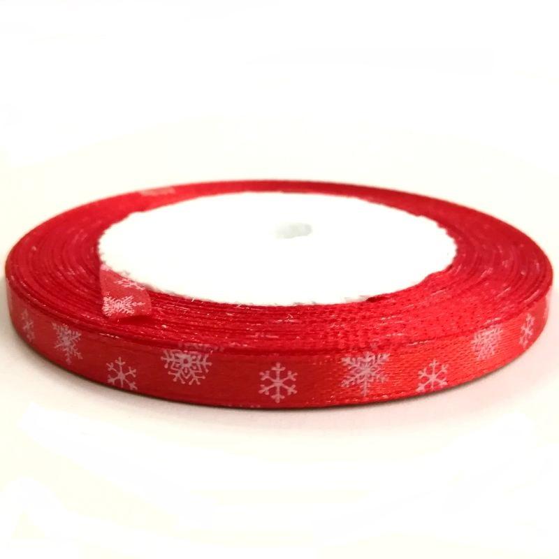Karácsonyi szatén szalag bordó hópelyhes 6 mm - Create hobby karácsony 70a5d3d45e