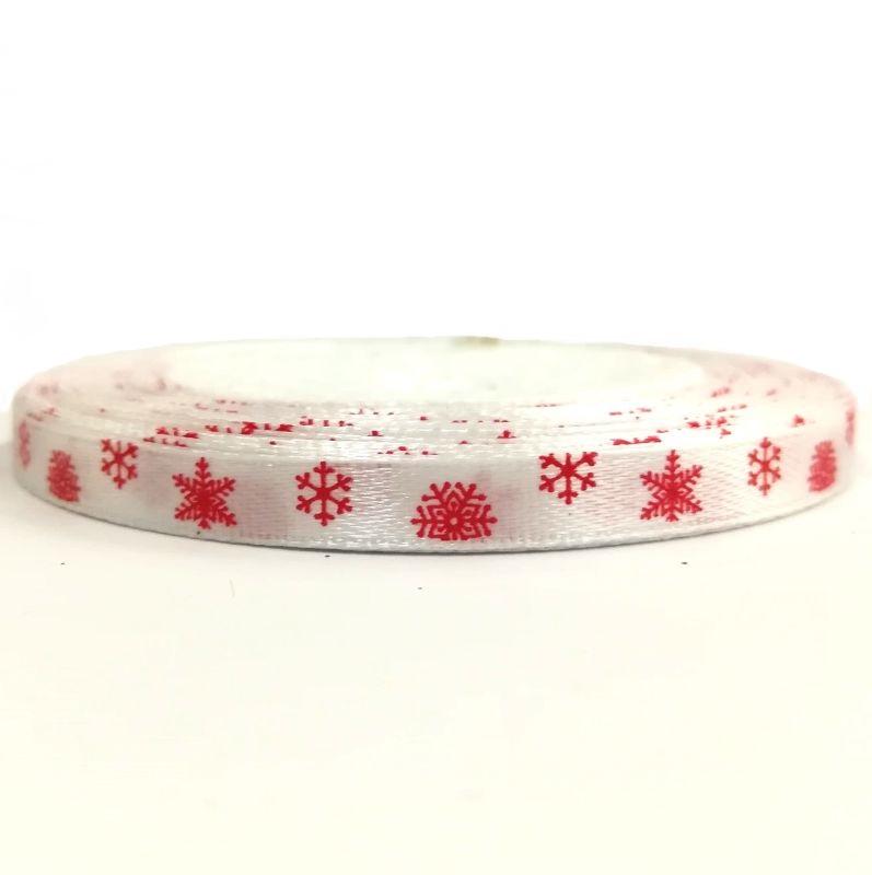 Karácsonyi szatén szalag fehér alapon piros hópelyhes 6 mm - Create ... b7b605ca62