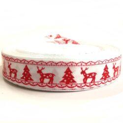 Karácsonyi szatén szalag fehér-piros fenyő-szarvas 15 mm c941a12e92