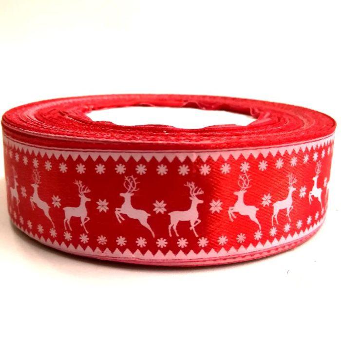 Karácsonyi szatén szalag zöld rénszarvasos 25 mm - Create hobby ... 6db18cb52d