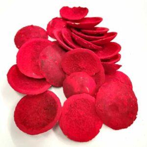 Kagyló formájú festett piros termés 50 gr