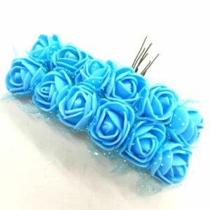 Polifoam rózsa világoskék drótszáron 20 mm 12 db