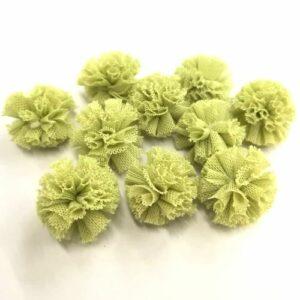 Tüll pompom zöld 2 cm 10 db