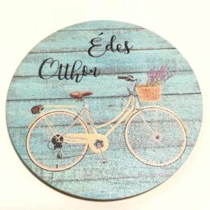 Édes otthon festett fatábla kék biciklis több méret