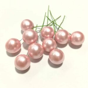 Gyöngyházfényű golyók drótszáron rózsaszín 1 cm 10 db