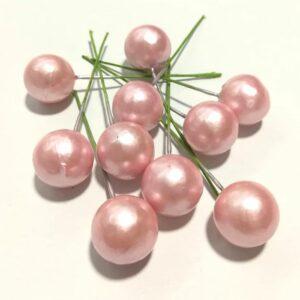 Gyöngyházfényű golyók drótszáron rózsaszín 2 cm 10 db