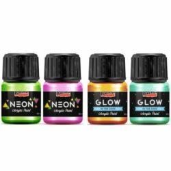 Sötétben világító és neon színű akrilfestékek