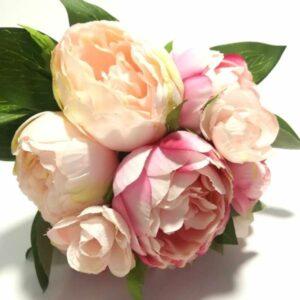 Selyem pünkösdi rózsa csokor barack-rózsaszín cirmos