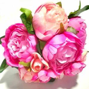 Selyem pünkösdi rózsa csokor pink-rózsaszín