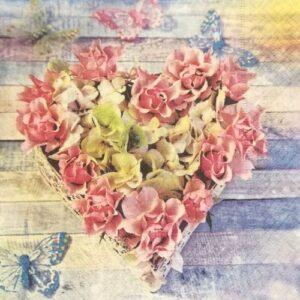 Dekorszalvéta hortenzia szív kosárban több kiszerelés