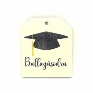 Festett fatábla Ballagásodra kalappal 4,5 x 5,5 cm