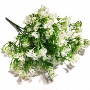 Műanyag rezgő csokor fehér virágokkal 7 szálas