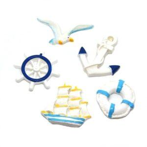 Öntapadós kerámia figura szett hajós motívumokkal 5 db