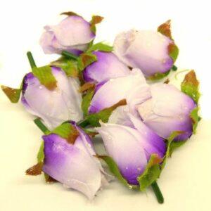 Harmatos selyem rózsa fej lila 8 db