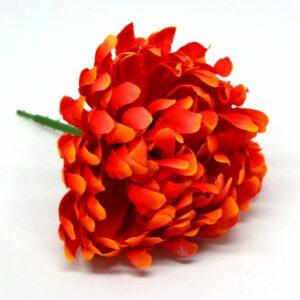 Selyem nagyvirágú krizantém narancsos piros 1 db