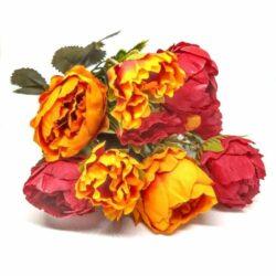selyem-vintage-rozsa-csokor-kicsi-narancs-piros-hobbykreativ