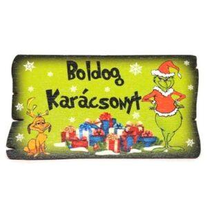 Boldog karácsonyt festett fatábla grincses 5,5 x 9,5 cm