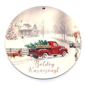 Boldog karácsonyt festett kör fatábla piros furgonos 9,5 cm