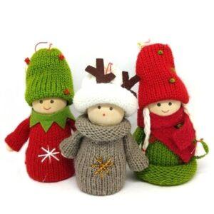 Karácsonyi manó figura kötött ruhában 10 cm többféle változat