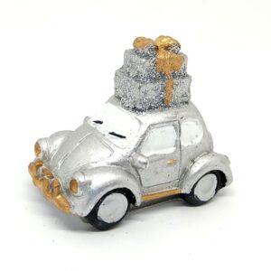 Kerámia autó ajándék csomaggal ezüst 7 x 5,5 x 4 cm