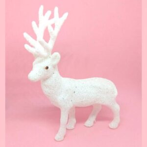Csillámos glitteres fehér szarvas figura 10 x 15 cm