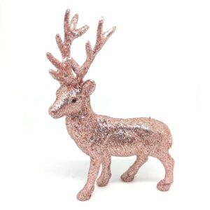 Csillámos szarvas figura rose gold 11 x 15 cm