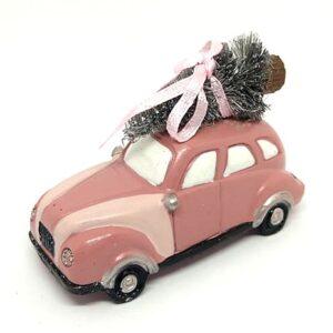 Vintage kerámia autó fenyővel és masnival rózsaszín