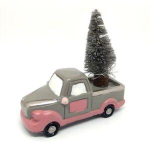 Vintage kerámia furgon fenyővel rózsaszín-szürke