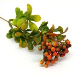 muanyag-zold-diszitoelem-narancssarga-bogyos-hobbykreativ