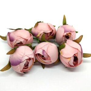 Selyem bimbós boglárka fej mályvás-rózsaszín 6 db