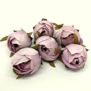 Selyem bimbós boglárka fej pasztell lila 6 db