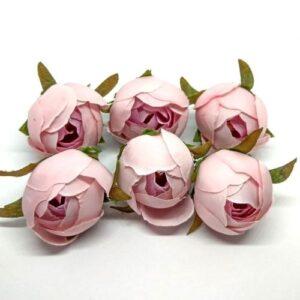 Selyem bimbós boglárka fej rózsaszín 6 db